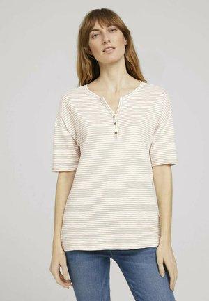 Print T-shirt - offwhite beige stripe