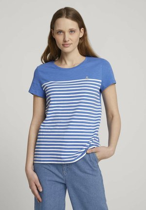 WITH EMBRO - Print T-shirt - mid blue