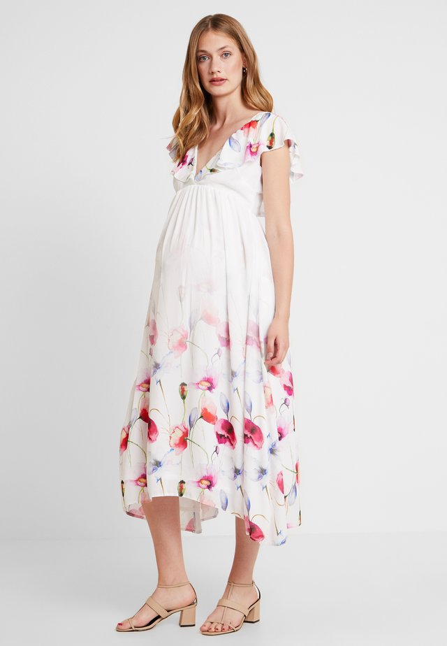 TRUE HI LOW MIDAXI DRESS WITH FRILLS - Robe longue - ombre cream