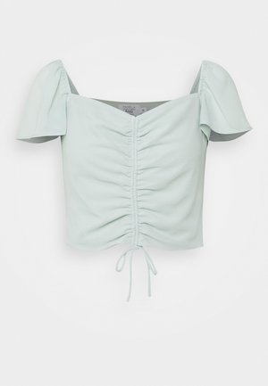 FLOWY SLEEVE CROPPED BLOUSE - Blouse - vintage mint