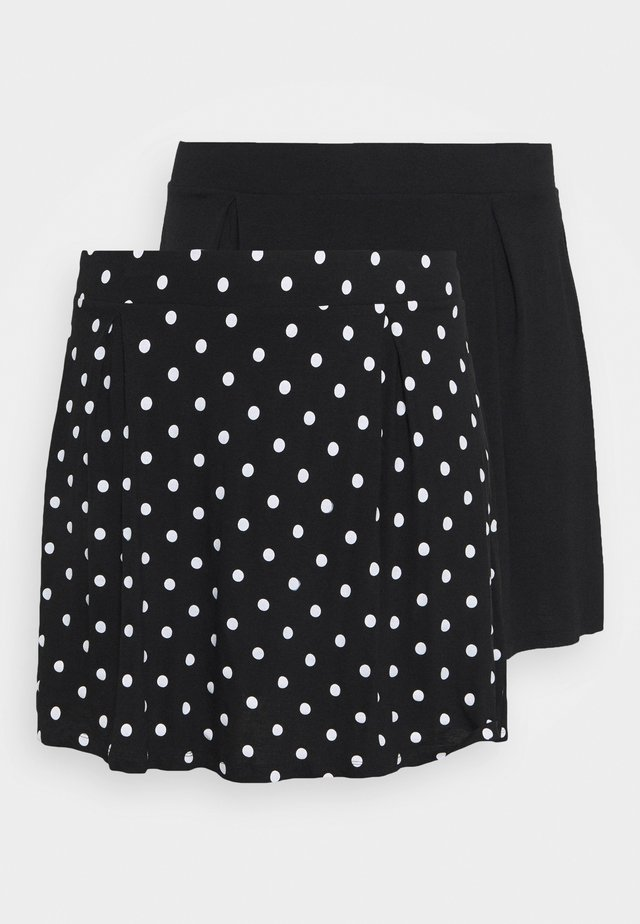 2 PACK - A-line skirt - black/white