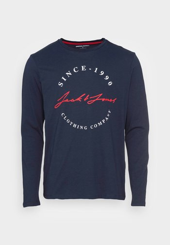 JJHERRO TEE CREW NECK - Maglietta a manica lunga - navy blazer