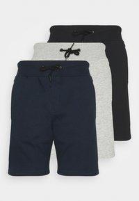 Pier One - 3 PACK - Shorts - black/mottled light grey/dark blue - 0