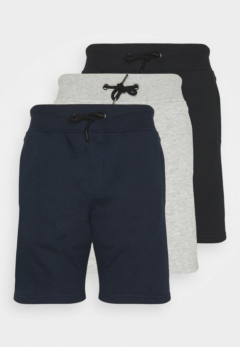Pier One - 3 PACK - Shorts - black/mottled light grey/dark blue