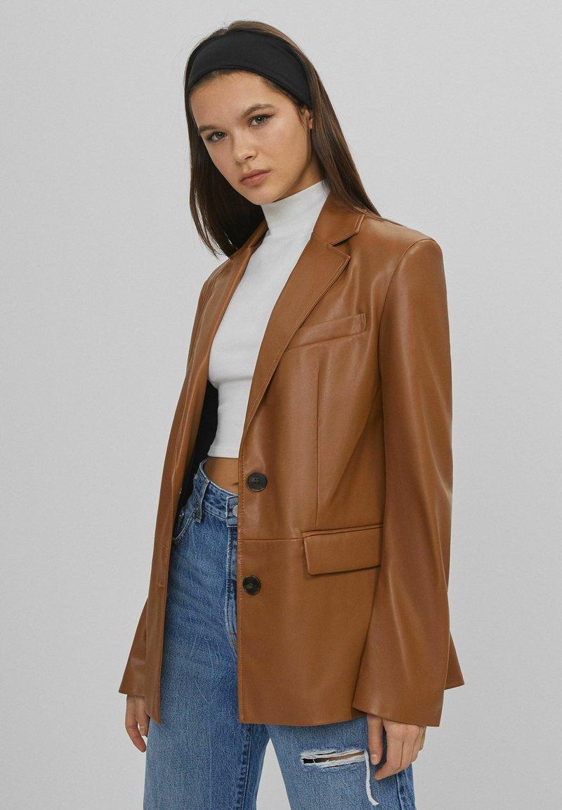 Bershka - Faux leather jacket - brown