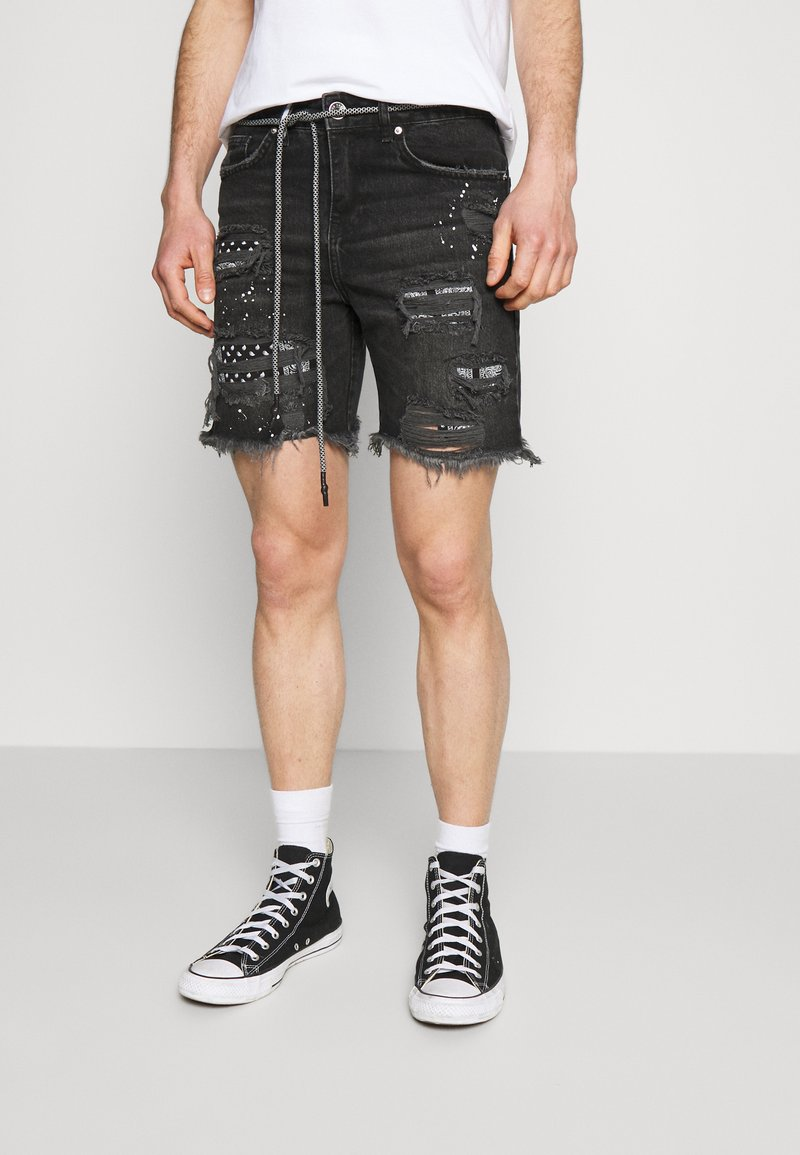 The Couture Club - BANDANA PATCH AND PAINT SPLAT CUT OFFS - Denim shorts - washed black