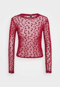 FLOCKED SPOT  - Long sleeved top - dark burgundy