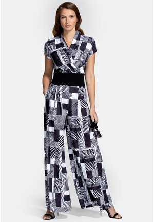 Overall / Jumpsuit /Buksedragter - black white striped geo
