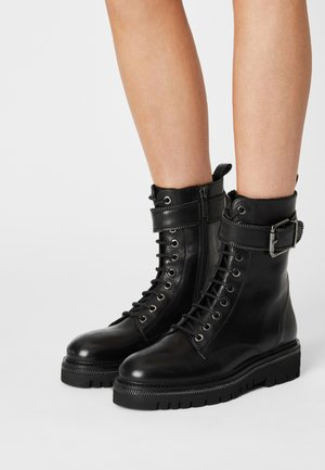 23 ZIP STREET - Lace-up ankle boots - black
