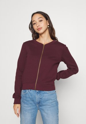 REGULAR FIT ZIP UP SWEAT JACKET - Collegetakki - bordeaux
