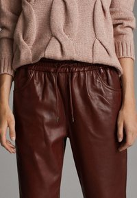 Massimo Dutti - Leather trousers - bordeaux - 3