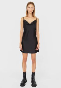 Stradivarius - KURZES SATIN - Day dress - black - 1