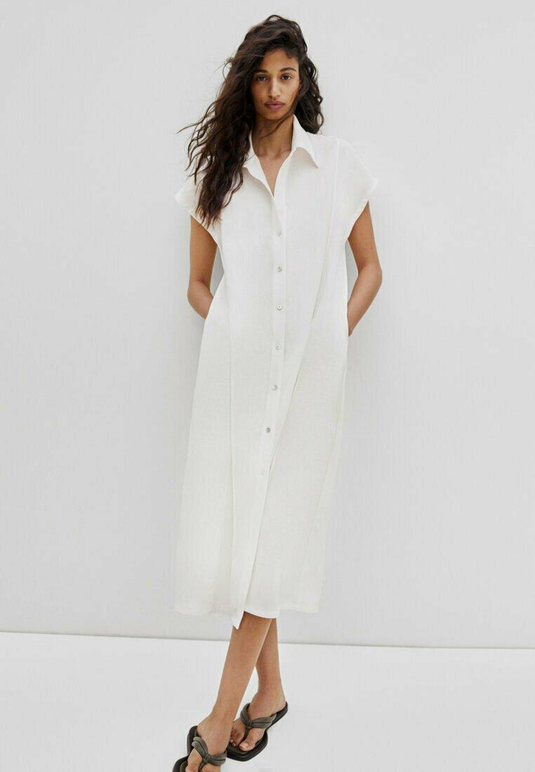 Massimo Dutti - KURZÄRMELIGES  - Shirt dress - white