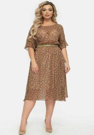 MIT BLÜTENDRUCK - Day dress - braun