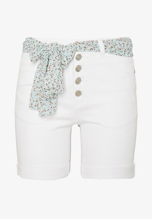 SHORT JEANS SCARF - Shorts - off white