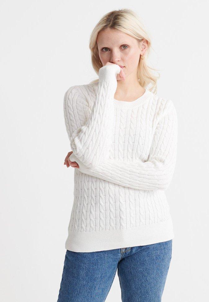 Superdry CROYDE BAY - Pullover - chalk white - Pulls & Gilets Femme Uduuh
