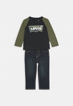 RAGLAN SET - Vaqueros rectos - olive night heather
