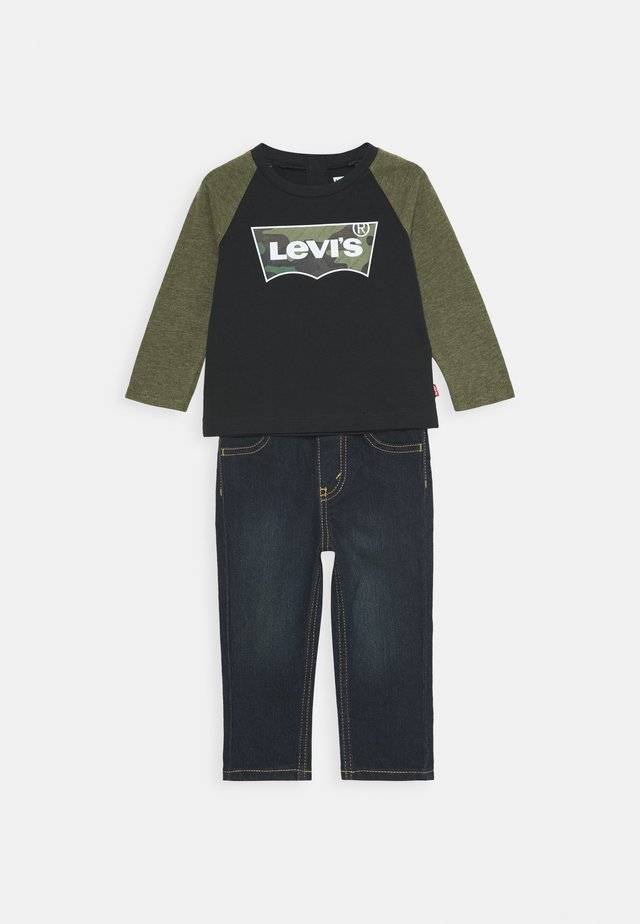 RAGLAN SET - Jeans Straight Leg - olive night heather