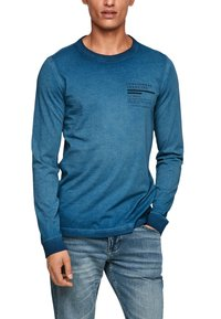 QS by s.Oliver - MIT RELIEFDRUCK - Long sleeved top - blue - 4