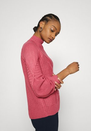 CABLE HIGH NECK JUMPER - Jumper - dusky rose