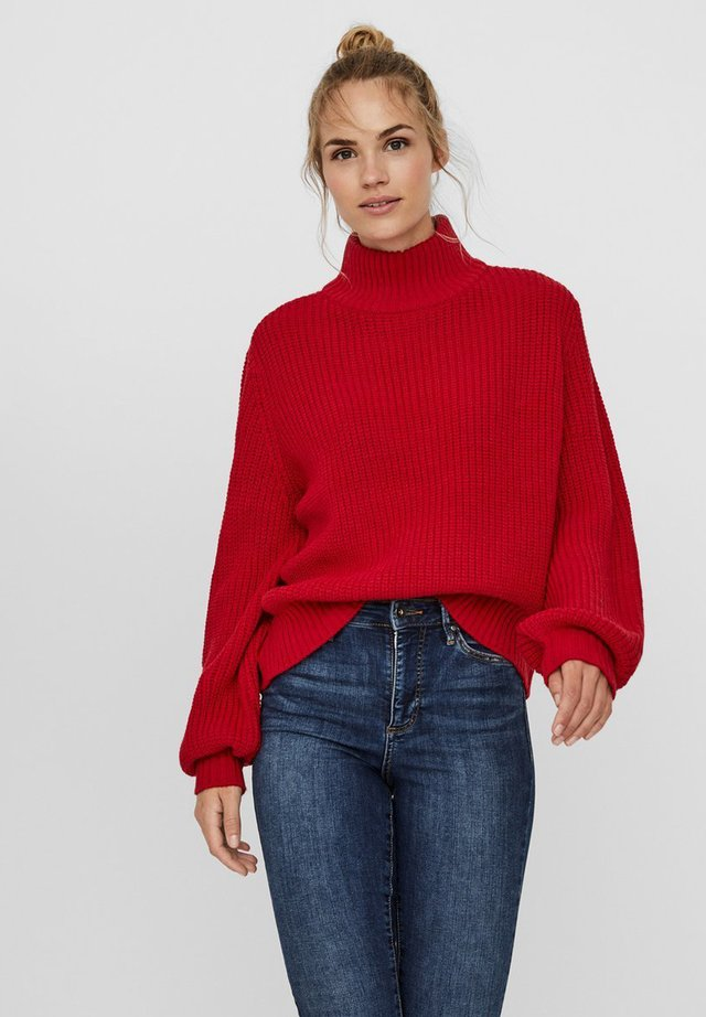 NMTOMMY HIGH NECK - Jumper - haute red