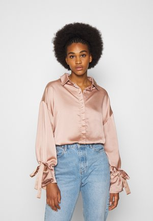 FRILL TIE EXTREME - Button-down blouse - bronze