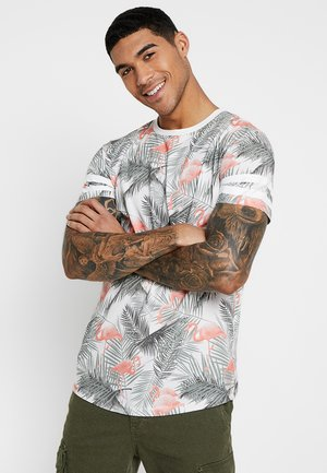 JORDIZ TEE CREW NECK - Camiseta estampada - cloud dancer/flamingo