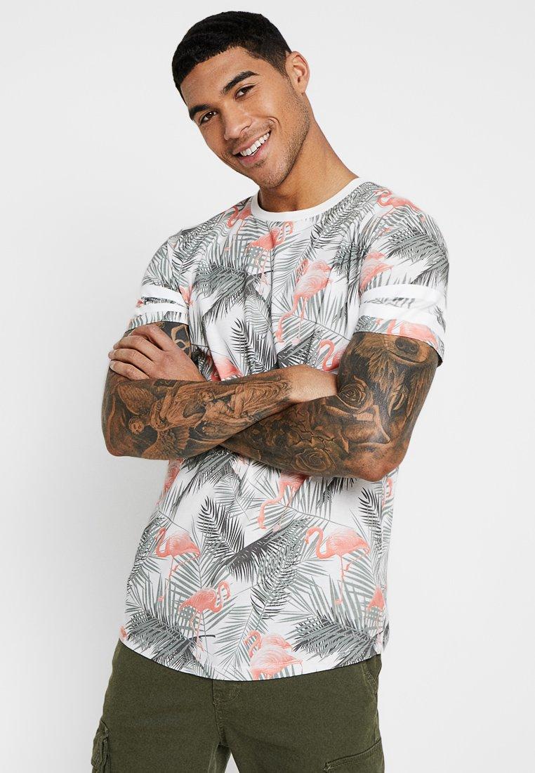 Jack & Jones - JORDIZ TEE CREW NECK - T-shirt med print - cloud dancer/flamingo