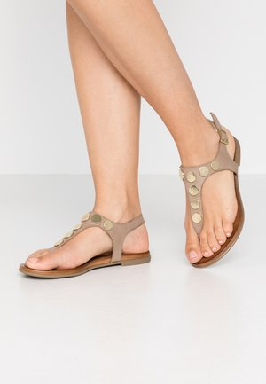 LEATHER - T-bar sandals - taupe