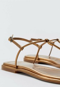 Massimo Dutti - T-bar sandals - gold - 4