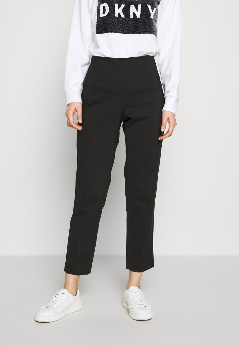 DKNY - STRAIGHT LEG PANT SIDE ZIP - Trousers - black