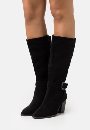 WIDE FIT BUCKLE LONG BOOT - Boots - black