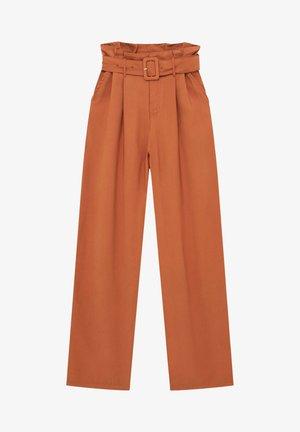 MIT HOHEM BUND UND GÜRTEL - Pantaloni - mottled orange