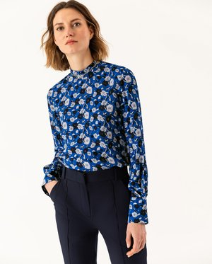 STAND UP COLLAR BLOUSE - Pusero - brilliant blue