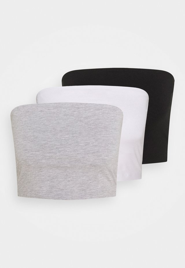 3 PACK - Top - black/white/grey