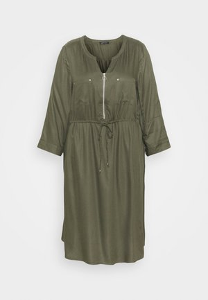 ZIP FRONT UTILITY DRESS - Day dress - khaki