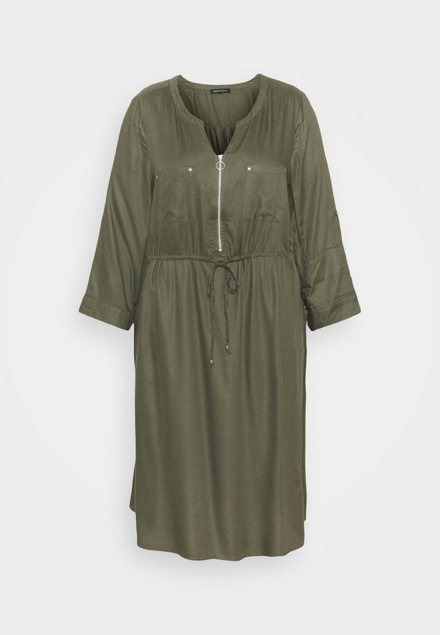 ZIP FRONT UTILITY DRESS - Vapaa-ajan mekko - khaki