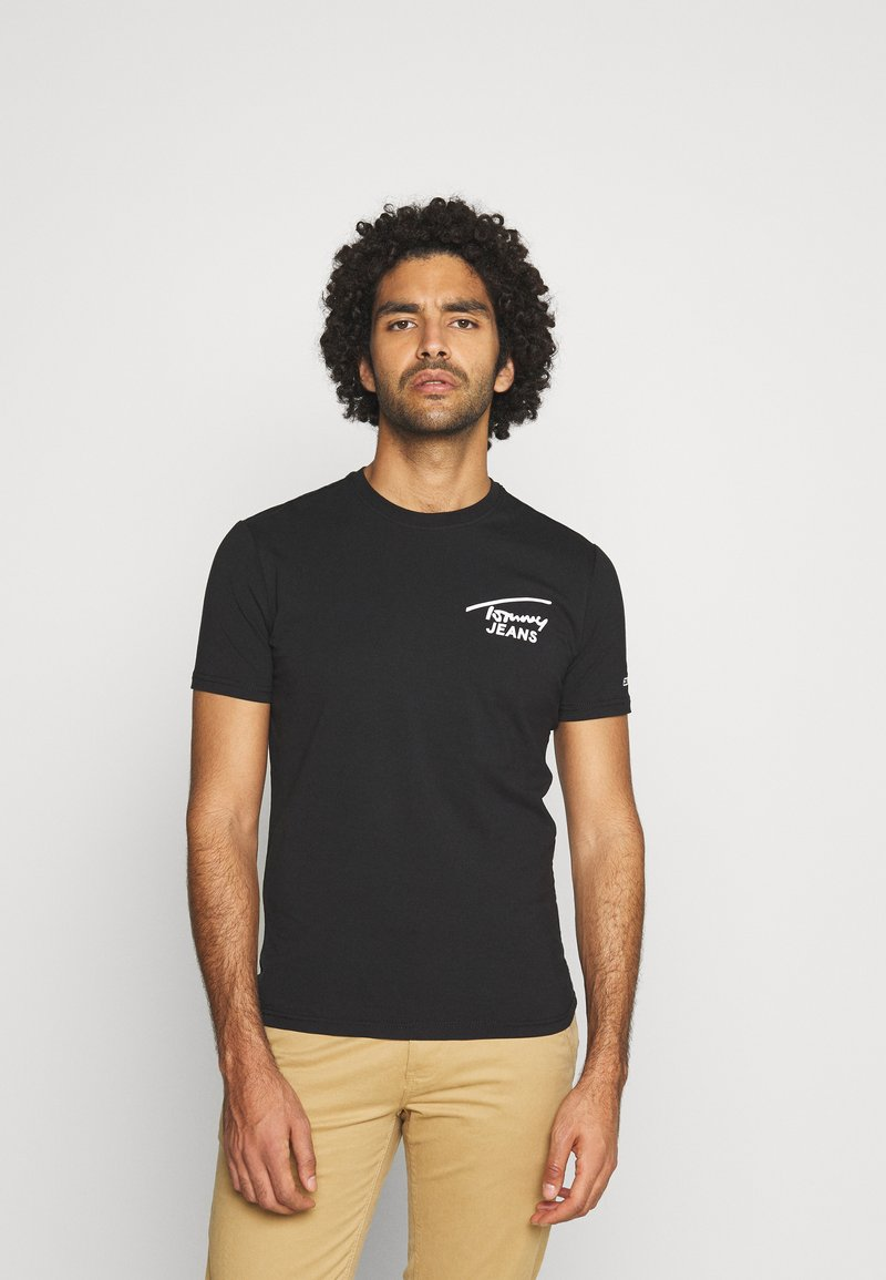 Tommy Jeans - STRETCH CHEST LOGO TEE  - Print T-shirt - black