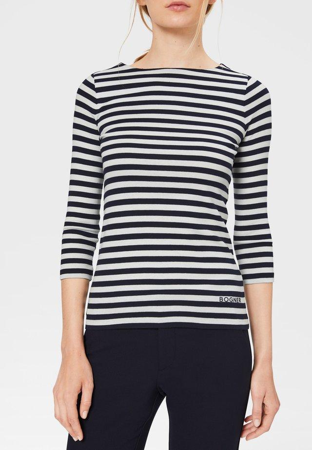 T-shirt à manches longues - navy-blau/weiß