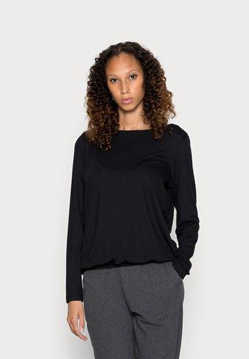 LONG SLEEVE BOAT NECK ELASTIC AT HEM - Long sleeved top - black