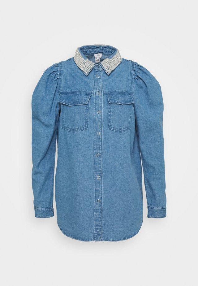 PUFF PEARL COLLAR  - Blusa - blue