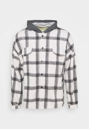 TARTAN WITH HOOD - Shirt - white/grey