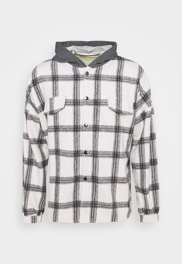 TARTAN WITH HOOD - Camicia - white/grey