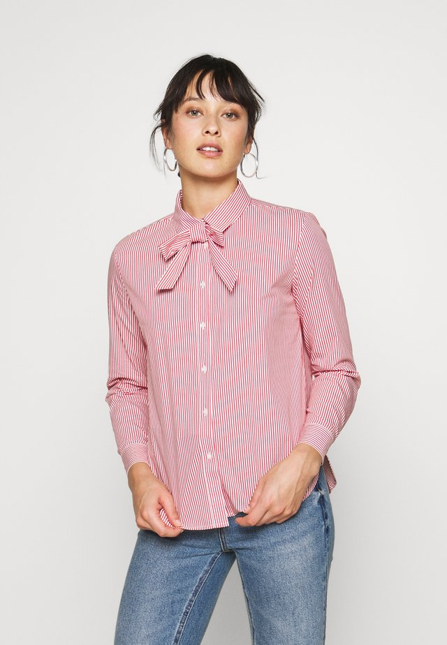 BOW BLOUSE - Button-down blouse - red