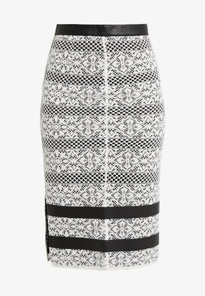 PEPATA GONNA PIZZO REBRODE - Pencil skirt - bianco/nero