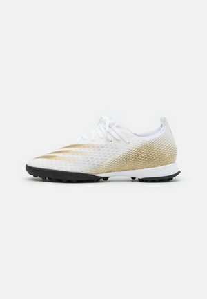 X GHOSTED.3 FOOTBALL TURF - Chaussures de foot multicrampons - footwear white/gold/core black