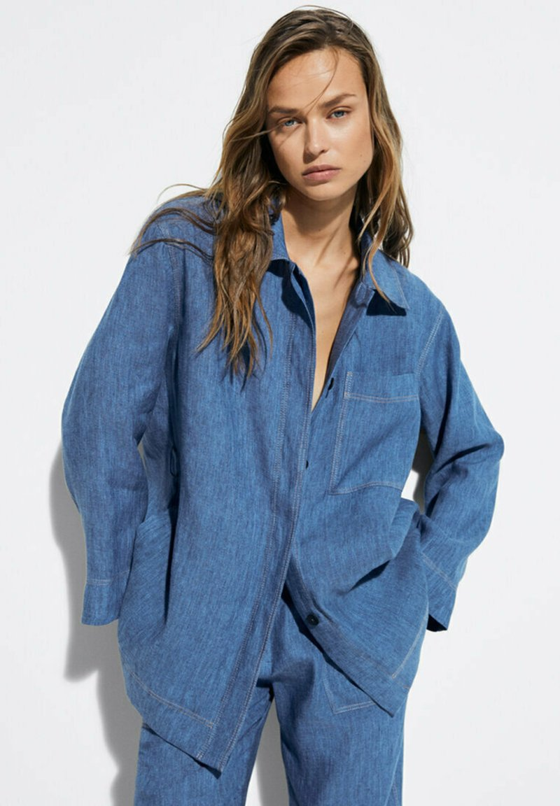 Massimo Dutti - Button-down blouse - blue