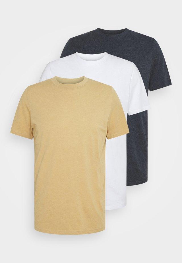 TIM TEE 3 PACK - Camiseta básica - white/navy/sand