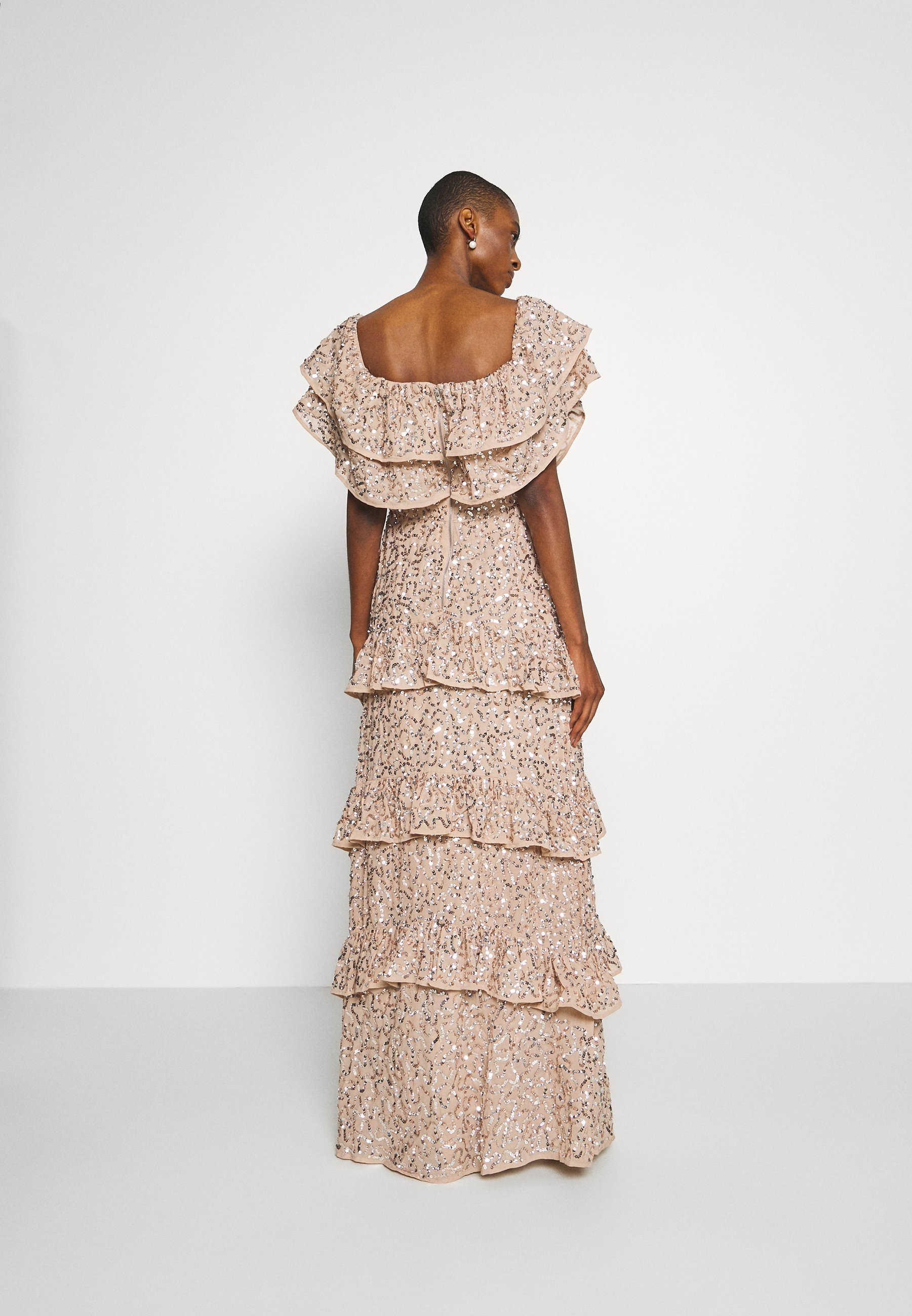 Maya Deluxe BARDOT ALL OVER SEQUIN MAXI DRESS WITH RUFFLES Ballkleid taupe blush/taupe