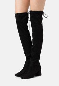 New Look - CANBERRA STRETCH BLOCK HEEL - Cuissardes - black - 0